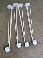 IKEA DESK Krille table white metal hairpin legs on castors x4