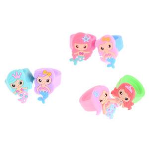 1PC PVC Rubber Cartoon Mermaid Princess Kids Rings Children Silicone Ring To_H4