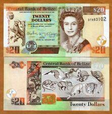Belize, 20 Dollars, 2017, QEII, P-69f, UNC > Animals
