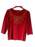 Zenergy By Chicos Womens Blouse Red 3/4 Sleeve Scoop Neck Sequin Top L/12 NWOT