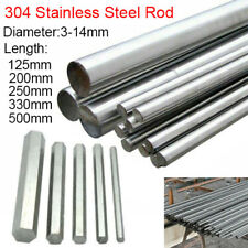 3mm-14mm Dia 304 Stainless Steel Hex Bar Round Rod Metal Shaft 125mm-500mm Long
