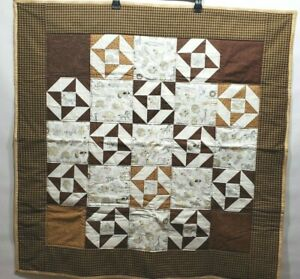 "New Handmade Kid's Quilt Brown Tan Fannel Backing 37""x37"""
