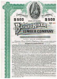 Bayano River Lumber Co., ( Panama), 1907. $500 Gold Bond uncancelled/ coupons, V