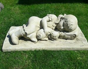 Girl & Kitten Laying Down latex mould & Fibreglass Mould To Make Garden Ornament