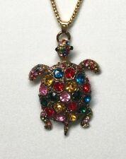 Betsey Johnson Necklace Turtle Tortoise Gold Multi Color Gift Box Organza Bag LK
