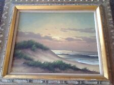 Vintage Oil Painting Beach Sunset Listed Artist Herman J. Wyngaard