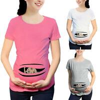 Women Maternity Summer Short Sleeve Blouse Tee Shirt Cute Pregnancy Cartoon Tops