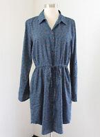 Ann Taylor Loft Teal Blue Floral Print Drawstring Shirt Dress Size 6 Long Sleeve