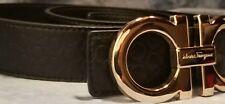 Salvatore Ferragamo HUGE Thick Black Leather Gancini Gold Enamel Buckle Belt 36