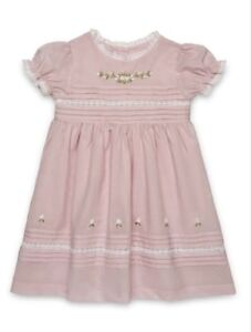 Beautiful Traditional Hand Embroidered Pink Dress Baby Girls Spanish