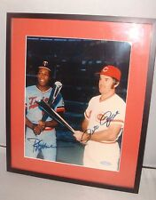 "8 x 10"" Glass Framed and Matted ~ Autographed Pete Rose, Rod Carew"