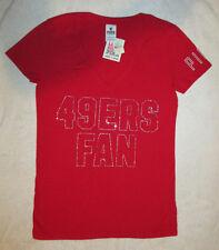"Victorias Secret PINK San Francisco 49ers Bling Vneck Tshirt ""49ERS FAN"" S NWT"