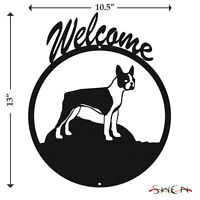 Boston Terrier Black Metal Welcome Sign *NEW*