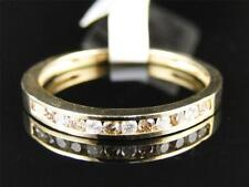 10K Ladies Yellow Gold Brown Cognac Diamond Channel Wedding Band Ring 1/4 Ct