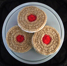 3 Hand Knitted Jam & Cream Biscuits - Toy Food
