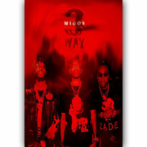 1169D New Migos 3 Way Custom Red Hip Hop Rap Music-Print Art Silk Poster