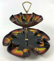 "Vintage 11"" BERKELEY Pottery 1960 Retro Psychedelic Flower 2 Tier Tea Cake Stand"