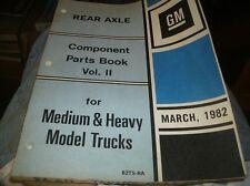1982 CHEVROLET MEDIUM HEAVY DUTY MODEL TRUCKS REAR AXLE PARTS BOOK MANUAL CATALO