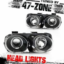 For 98-01 Acura Integra Halo Black Housing Clear Projector Lens Headlights Pair