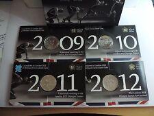 GIOCHI OLIMPICI DI LONDRA 2012 conto alla rovescia BU £ 5 Five Pound 4 MEDAGLIA Set in Scatola Royal Nuovo di zecca
