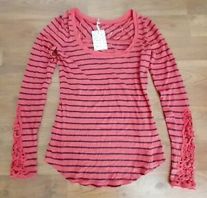 NEW!! Free People Women's Size XS Long Sleeve Shirt Top Striped Unique $78 NWT
