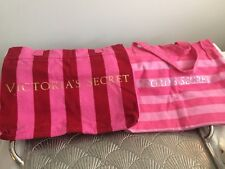 Victoria's Secret two Large Pink Striped Iconic Classic Canvas Tote Beach Bags