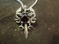 """Gothic Knight Double Dragon Cross Sword Pendant Necklace, 23"""" chain"""