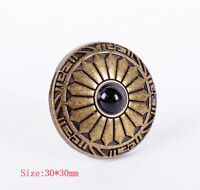 10X Vintage Ethnic Flower Brass Leathercraft Conchos Button Screwback Black Bead