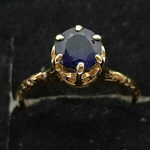 Antique Filigree 1.00ctw Blue Sapphire 14K Yellow Gold 925 Silver Ring Size 5