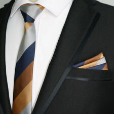 6CM Silk mens skinny tie handkerchief set ties Orange Gray Blue Striped Wedding