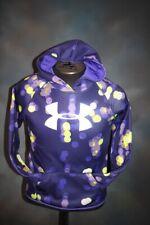 UA Hooded Sweatshirt Girl's Purple Dot YLG Fleece Top Sweat Shirt Hoodie Large