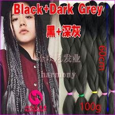 Black + Dark Grey Kanekalon Jumbo Braiding Synthetic Hair Extension Twist Braids
