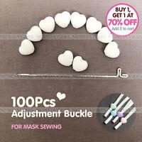 100pcs White Heart Adjustment Buckle Ear Elastic Cord Adjustable Stops For Mask