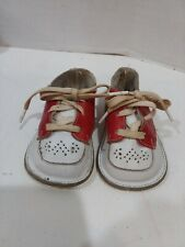 Vintage Baby Saddle Oxford Shoes; Red/White Infant Leather No size