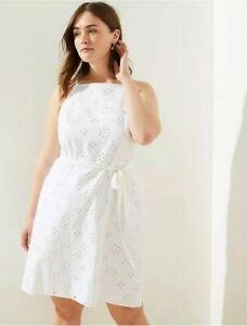 Ann Taylor LOFT Plus Cotton Eyelet Dress - White - Size 16 Plus