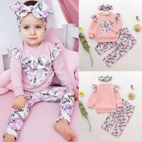 Kids Baby Girls Long Sleeve Tops+Pants+Headband Floral Printed 3Pcs Outfits Set
