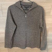 ALFANI  Men's 1/4 Zip 100% Cashmere Sweater Sz S Gray