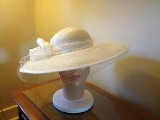 """Vintage Straw 1970-80s Miss Bierner Usa Women""""s Wide Brim Kentucky Derby Hat"""