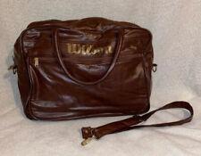 Vintage Wilson Tennis Gym Bag Brown Vinyl Waterproof Shiny Travel Carry On