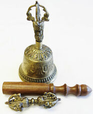R585 HAND MADE SPRITUAL TIBETAN BELL & DORJE SET HAND MADE IN NEPAL
