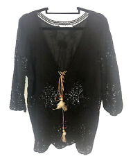 Women's Black  Boho Lace V Neck Top Long Sleeve With Tie Front Size L. NWOT