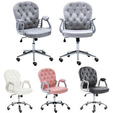 Faux Leather Tufted Button Retro Office Chair Swivel Computer Desk Rolling Seat