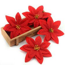 Artificial Decor Glitter Ornament Christmas Tree Flowers Poinsettia Xmas Gift.~