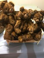 Lot of 3~ Mink Teddy Bears, Jointed,~ Beautifully Made comes with a Wicker Seat