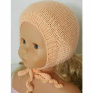 Baby Girl Hat BONNET knitted, Acrylic, Handmade, Peach, 0-3 months