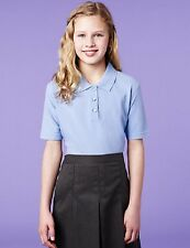 PACK OF 2 GIRLS PURE COTTON BLUE POLO SHIRTS SCHOOL UNIFORM AGE 4 YEARS BNWT
