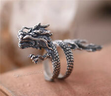Mens 925 Sterling Silver Antique Dragon Ring Punk Chinese Dragon Adjustable