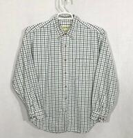 Mens Eddie Bauer Medium Green Plaid Long Sleeve Button Front Shirt 100% Cotton