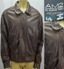 Andrew Marc Leather Flight Bomber Jacket AM2 Men's Size Large Brown
