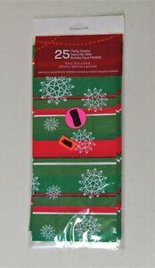 "25 Treat Plastic Gift Bags Holiday Snowflakes Christmas 4"" x 10"" x 2.5"" New Pkg"